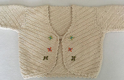 Adorable Hand-knit, 100% Cotton Cardigan with Butterflies