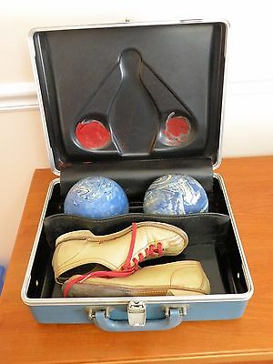 Vintage Duckpin Set:  Carrying Case, Two Blue/White Swirl Balls, Ladies Shoes