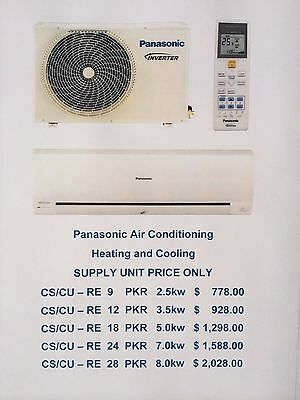 Panasonic Air Conditioning 2.5kw Split System Inverter Reverse Cycle