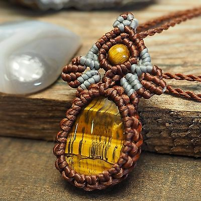 Macrame Necklace Pendant  jewely chic tiger' eye Stone Waxed Cord Handmade