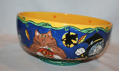 """Catzilla """"2001"""" Candace Reiter Large Halloween Candy Bowl"""