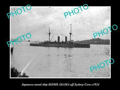 OLD LARGE HISTORIC PHOTO OF THE JAPANESE NAVY SHIP, HIJMS ASAMA IN SYDNEY c1924