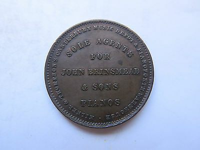 1881 NEW ZEALAND TRADESMANS PENNY TOKEN MILNER & THOMPSON 32 mm BRINSMEAD PIANOS