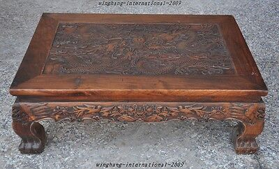 Old Chinese Huanghuali Wood Hand-Carved Dragon Crane Statue Ancient Tables Desk