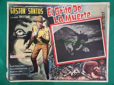 THE LIVING COFFIN Horror SKELETON BEAUTIFUL ART SPANISH MEXICAN LOBBY CARD