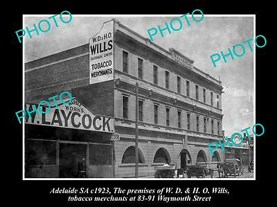 OLD HISTORIC PHOTO OF ADELAIDE SA, WD & HO WILLS TOBACCO BUILDING, c1923