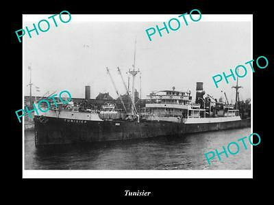 OLD LARGE HISTORIC MERCHANT SHIP PHOTO OF THE STEAMSHIP SS TUNISIER c1920s