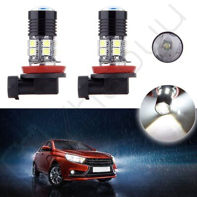 2x H11 6000K Cree LED 12 SMD Pure White Light Fog DRL Daytime HID 3Y Warranty