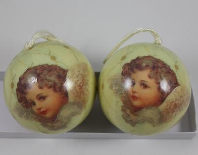 Decoupaged Cherubs Christmas Holiday Ball Ornaments