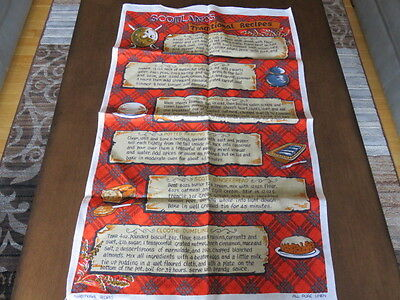"Souvenir Tea Towel - Scotland - Traditional Recipes - 30"" By 19"""