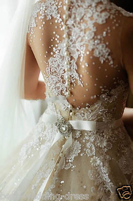 New White/Ivory Lace Pearls Bridal Gown Wedding Dress Size:6/8/10/12/14/16/18+++
