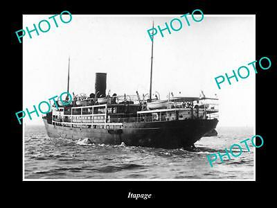 OLD LARGE HISTORIC MERCHANT SHIP PHOTO OF THE STEAMSHIP SS ITAPAGE c1920s