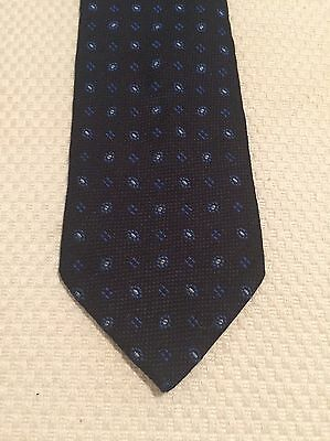 Vintage Tie - Wide, Navy Blue, 100% Silk, Made In Italy