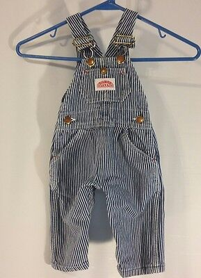 Round House Stripe Overalls Bibs Infant 12 Months Conductor Train Blue USA