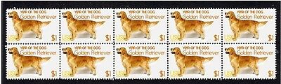 Golden Retriever Year Of The Dog Strip Of 10 Mint Stamps 1