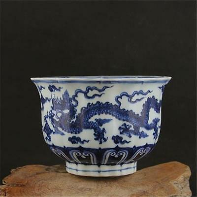 A Beautiful Chinese Da Ming Blue&White Porcelain Dragon Bowl
