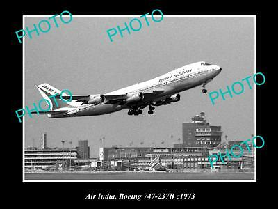 OLD LARGE HISTORIC AVIATION PHOTO OF AIR INDIA BOEING 707 237b c1963