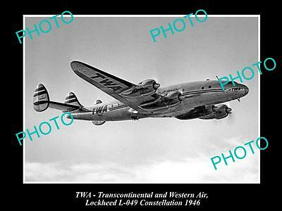 Old Historic Aviation Photo Of Twa Airlines, Lockheed Constellation 1946