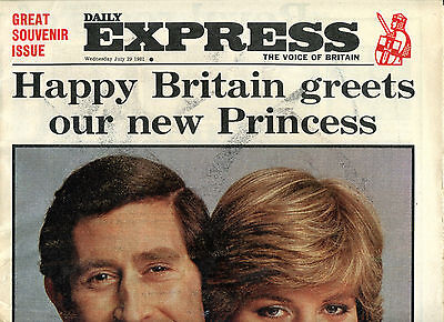 Daily Express Newspaper July 29 1981 Charles & Diana Souvenir Issue
