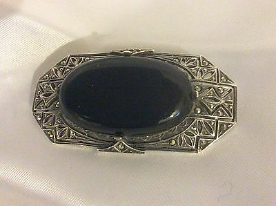 Art Deco Period Style Solid Silver, Black Agate & Marcasite Brooch