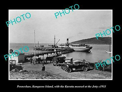 OLD HISTORIC PHOTO OF PENNESHAW KANGAROO ISLAND, STEAMSHIP AT THE JETTY c1933