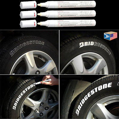 3 LOT TIRE LETTER White PERMANENT PAINT MARKER SIDE WALL WATERPROOF RUBBER PEN!