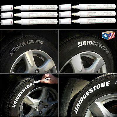 6 LOT TIRE LETTER White PERMANENT PAINT MARKER SIDE WALL WATERPROOF RUBBER PEN!