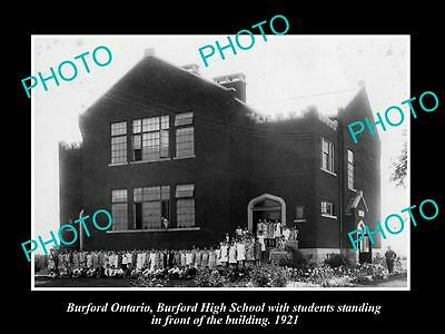 OLD LARGE HISTORIC PHOTO OF BURFORD ONTARIO, THE BURFORD HIGH SCHOOL c1921