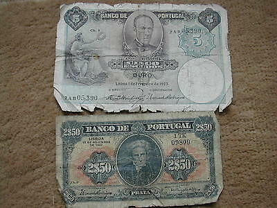 2 x old Portugues Banknotes