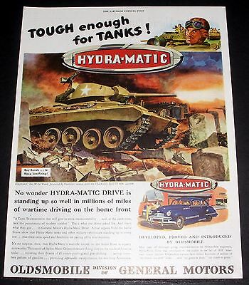 1945 Old Magazine Print Ad, Oldsmobile Hydramatic Drive, Tough Enough For Tanks!