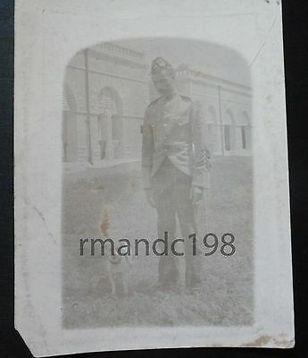 Photograph Of  Unknown Soldier With Dog Possibly King's Regiment