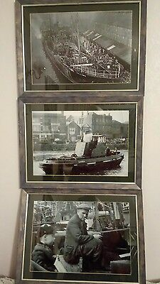 3 FRAMED PHOTOGRAPHS OF HULL CITY TRAWLERS, & TUGS IN 1950s 47 cms x 35 cms VGC