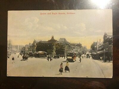 1906 Colour Postcard Queen Street and Eagle Streets, Brisbane Queensland