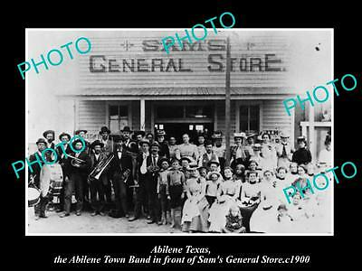 OLD LARGE HISTORIC PHOTO OF ABILENE TEXAS, TOWN BAND & SAMS GENERAL STORE c1900