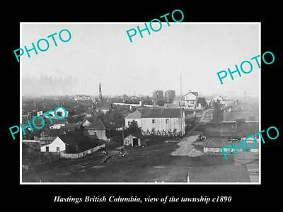 OLD LARGE HISTORIC PHOTO OF HASTINGS BC CANADA, VIEW OF THE TOWNSHIP c1890