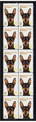 Miniature Pinscher Year Of The Dog Strip Of 10 Mint Stamps 2