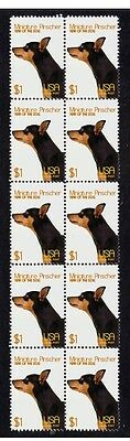 Miniature Pinscher  Year Of The Dog Strip Of 10 Mint Stamps 7