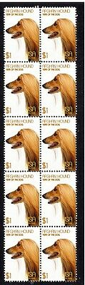Afghan Hound Year Of The Dog Strip Of 10 Mint Stamps 1