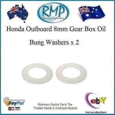 A Brand New Set x 2 Nylon 8mm Honda Gear Box Oil Bung Washers # 90507-921-000