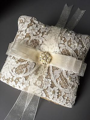 Couture Burlap Wedding Ring Cushion French Lace Pearls Hessian Pillow Bearer