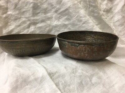 Antique Middle Eastern Islamic Copper Bowls