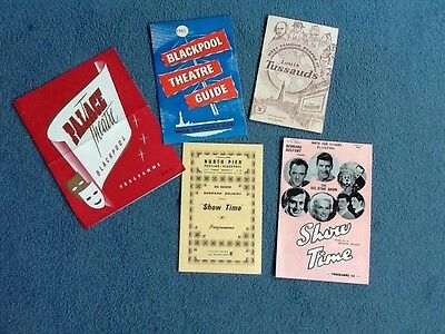 5 x vintage 1961 blackpool theatre programmes and guide