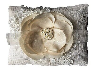 Couture Champagne Wedding Ring Cushion Pillow Bearer French Lace Flower Centre