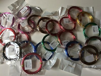 Job Lot Coloured Aluminium Wire 21 Packed, Sizes 1 & 2mm, Crafting, Jewellery