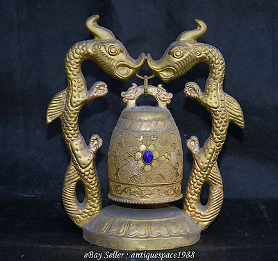 "10"" Rare Chinese Copper Gilt Gild Palace Double Dragon Beast Hang Zhong Bell"
