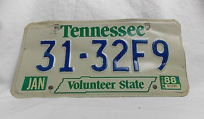 Vtg Tennessee Volunteer State 80s License Plate Tag State Shape 31-32F9 #4096