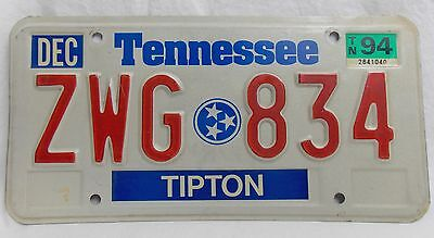 Vtg Tennessee Early 1990s License Plate Tag State Flag Symbol AWG 834  #4092