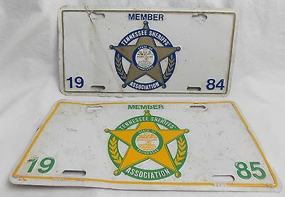 1984 and 1985 Tennessee Sheriffs Assoc Member License Plate Tags  #4090