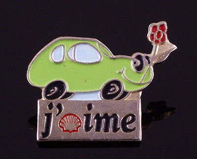 Shell J' Aime Green Car Holding Flowers Vintage 3cm Pin