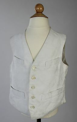 Antique Vest White Cotton & Linen Child's Waistcoat with Mother of Pearl Buttons